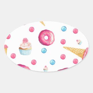 Adesivo Oval Colagem cor-de-rosa da rosquinha