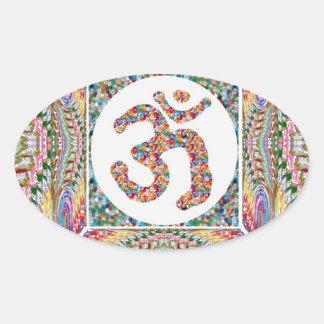 Adesivo Oval Coleção da jóia da mantra do OM