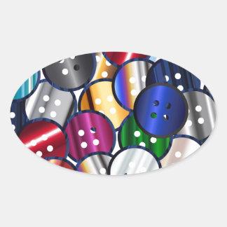 Adesivo Oval Coleção do botão da cor