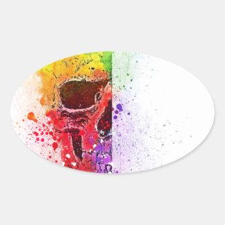 Adesivo Oval Colorful Skull - Caveira Colorida