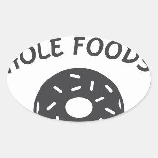 Adesivo Oval Coma mais alimentos do furo
