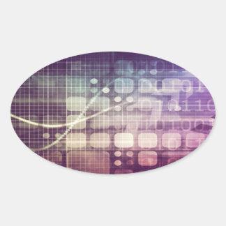 Adesivo Oval Conceito abstrato futurista na tecnologia