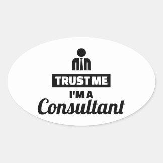 Adesivo Oval Confie que eu mim é um consultante