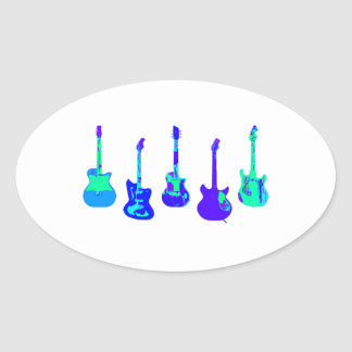 Adesivo Oval Conjunto da guitarra
