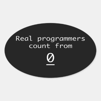 Adesivo Oval Contagem real dos programadores de 0