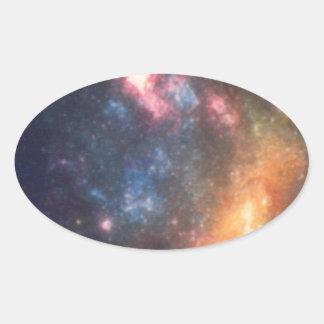 Adesivo Oval Cor galáctica abstrata da nuvem da nebulosa