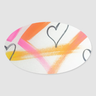 Adesivo Oval Coração alegre