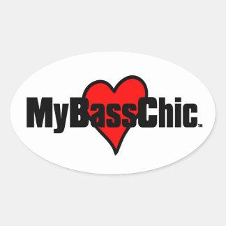 Adesivo Oval Coração carmesim de MyBassChic (TM)