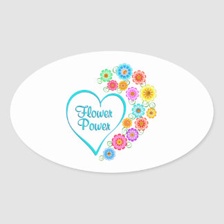 Adesivo Oval Coração de flower power