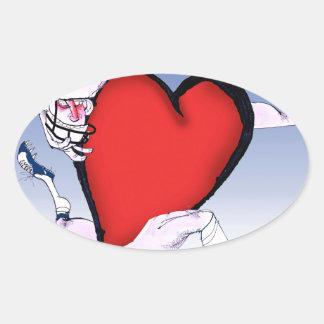 Adesivo Oval coração principal de North Dakota, fernandes tony