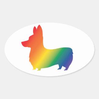 Adesivo Oval Corgi do arco-íris