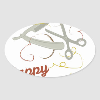Adesivo Oval Corte de cabelo feliz