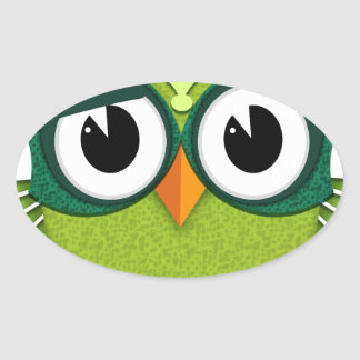 Adesivo Oval coruja verde