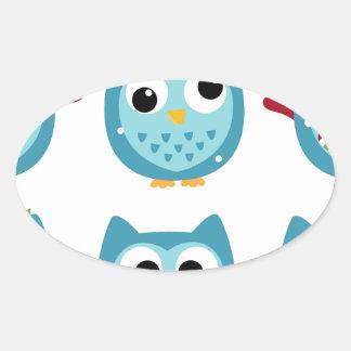 Adesivo Oval Corujas maravilhosas azuis no branco