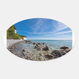 Adesivo Oval Costa de mar Báltico na ilha Ruegen