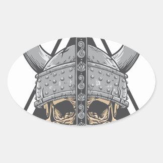 Adesivo Oval Crânio de Viking
