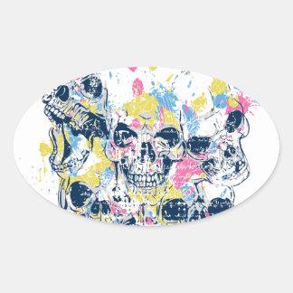 Adesivo Oval crânios coloridos do vintage