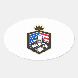 Adesivo Oval Crista da bandeira dos EUA da soldadura de arco do