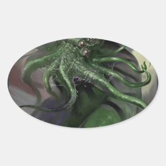 Adesivo Oval Cthulhu cavalo-força de aumentação Lovecraft