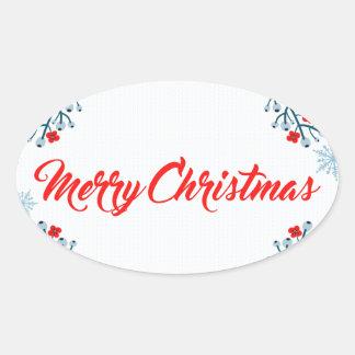 Adesivo Oval cumprimento do Natal do Feliz Natal