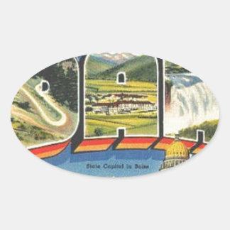Adesivo Oval Cumprimentos de Idaho