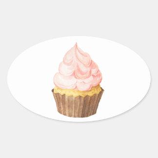 Adesivo Oval cupcake cor-de-rosa