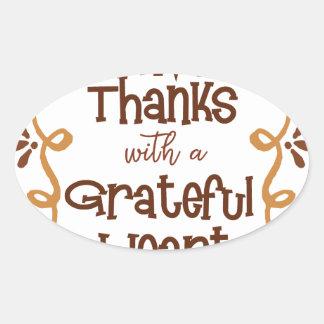 Adesivo Oval Dê obrigados com um coração grato