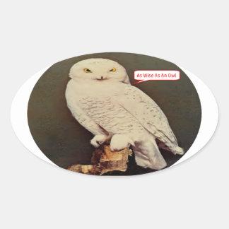 Adesivo Oval desenho branco da coruja