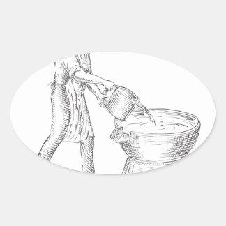 Adesivo Oval Desenho da fundição do Candlemaker do vintage