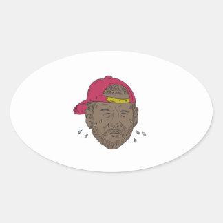 Adesivo Oval Desenho de grito do rapper do afro-americano