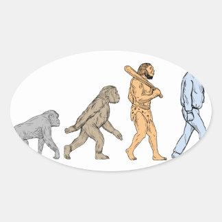 Adesivo Oval Desenho de passeio da evolução humana