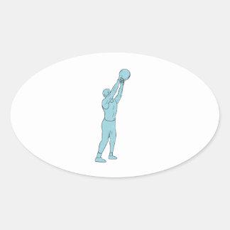 Adesivo Oval Desenho do balanço de Kettlebell da malhação do