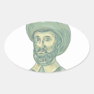 Adesivo Oval Desenho do busto de Juan Sebastian Elcano