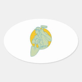 Adesivo Oval Desenho do círculo da pá do trabalhador da