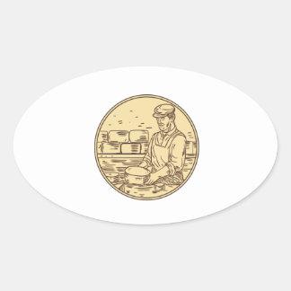 Adesivo Oval Desenho do círculo do queijo cheddar do fazer do
