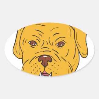 Adesivo Oval Desenhos animados da cabeça de cão do Bordéus