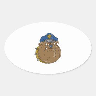 Adesivo Oval Desenhos animados da cabeça do polícia do buldogue