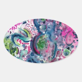 Adesivo Oval design abstrato colorido do divertimento