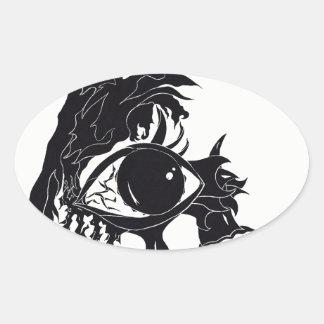 Adesivo Oval Design abstrato do olho (etiquetas)
