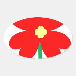 Adesivo Oval Design da flor do coração