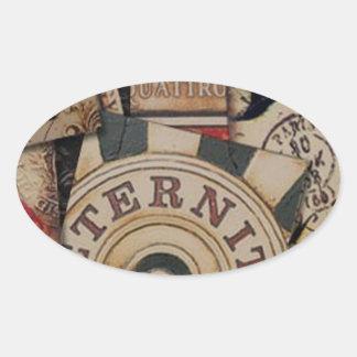Adesivo Oval Design de cartão abstrato do jogo
