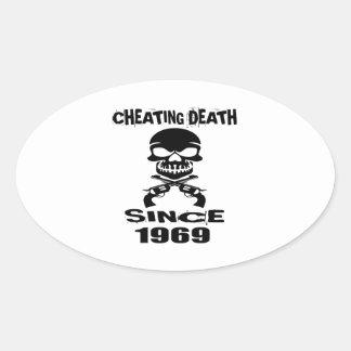 Adesivo Oval Design de engano do aniversário da morte desde
