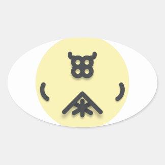 Adesivo Oval Design de vista asiático