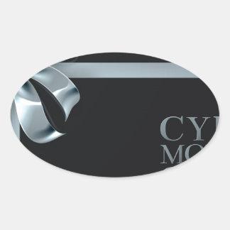 Adesivo Oval Design do arco da fita da prata da venda de
