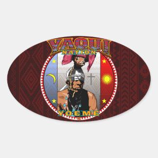 Adesivo Oval Design do dançarino dos cervos de Yaqui Yoeme