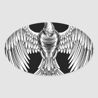Adesivo Oval Design do pássaro do fogo de Phoenix