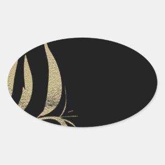 Adesivo Oval Design do teste padrão do Flourish do preto e do