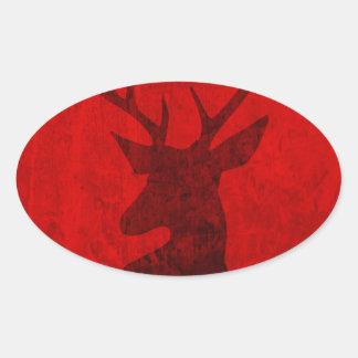 Adesivo Oval Design do veado vermelho