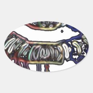 Adesivo Oval Design dos lábios do arco-íris