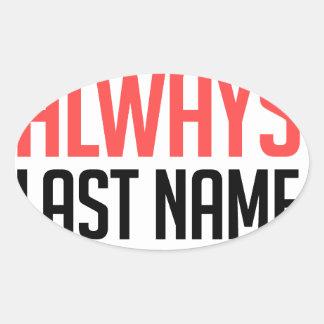Adesivo Oval design engraçado, do nome sobrenome sempre com